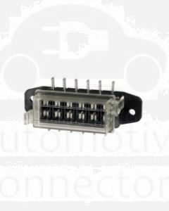 Narva 54422BL 6-Way Standard ATS Blade Fuse Box with Transparent Cover, Gasket and 12 Terminals (Blister Pack)