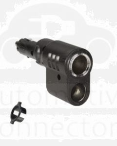 Cigarette Lighter Plug with Adjustable Twin Accessory Sockets and Lighter Fixture