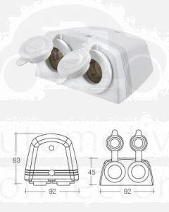 Narva 81160WBL Heavy Duty White Twin Surface Mount Accessory Sockets (White)