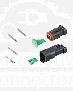 Deutsch DT2-1-CAT 2 Way DT Series CAT Spec Connector Kit with Green Band Contacts