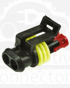 TE Connectivity 282080-1 AMP SUPERSEAL 1.5 Series Plug, 1 Row 2 Way Connector Housing (bag of 10)