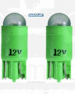 Narva L.E.D Wedge Globes (2) - Green, 12v T-10mm KW2.1 x 9.5d