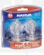 Narva 48872BL2 Halogen H4 Globe 12V 60/55W Plus 50 Longer Life P43t (Blister Pack of 2)