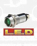 Narva 62096BL 24 Volt Chrome Pilot Lamp with Green L.E.D