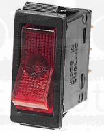 Hella Off-On Rocker Switch - Red Illuminated, 12V (4427)