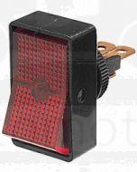 Hella Off-On Rocker Switch - Red Illuminated, 12V (4440)
